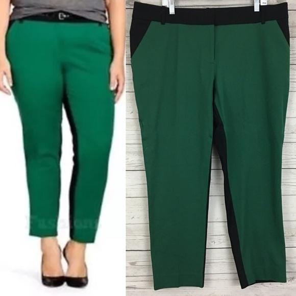 fcbded54d16 Ava   Viv colorblock ankle tuxedo pants green
